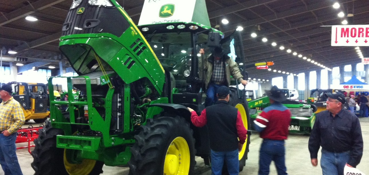John Deere Tractor at P&K Equipment booth at Tulsa Farm Show